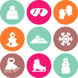Collection of winter icons activities in flat design style Royalty Free Stock Photos
