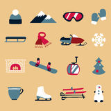 Collection of winter icons activities in flat design style. Set of winter icons activities in flat design style Stock Photography
