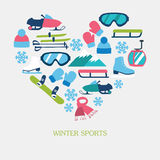 Collection of winter icons activities in flat design style Royalty Free Stock Photo
