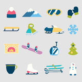 Collection of winter icons activities in flat design style. Set of winter icons activities in flat design style Royalty Free Stock Images