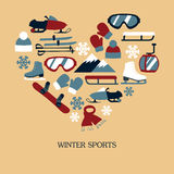 Collection of winter icons activities in flat design style Stock Photos