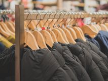 Collection of winter jackets. Collection of winter jackets in clothing store Royalty Free Stock Photography