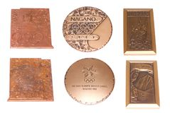 Collection of Winter Olympic Games Participation medals reverse and obverse. Lillehammer 1994, Nagano 1998, Salt Lake 2002. Kouvol. A Finland 21.04.2018 Royalty Free Stock Photography