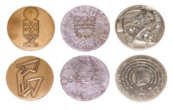 Collection of Winter Olympic Games Participation medals reverse and obverse. Sapporo 1972, Innsbruck 1976, Lake Placid 1980. Kouvo. La Finland 17.04.2018 Stock Photos