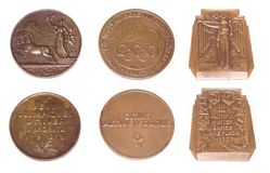 Collection of Winter Olympic Games Participation medals reverse and obverse. St Moritz 1928, Garmisch-Partenkirchen 1936, Lake Pla. Cid 1932. Kouvola Finland 16 Stock Photo