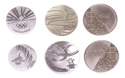 Collection of Winter Olympic Games Participation medals reverse and obverse. Torino 2006, Vancouver 2010, Sochi 2014. Kouvola Finl stock photos