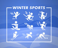 Collection of winter sport flat icons  on blue colored winter mountain landscape. Snowboard, figure skating, skeleton, free style, ski jumping, hockey and Stock Image