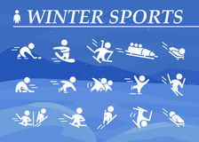 Collection of winter sport flat icons isolated on blue colored winter mountain and snow landscape. Stock Photography