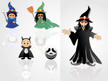 Collection of witch with background. Background with collection of witches illustration stock illustration