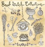 Collection with witch objects for Halloween - magic pot, herbs, broomstick. Graphic vector engraved illustration with design elements for poster, invitation Royalty Free Stock Photos