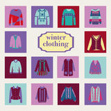 Collection of woman and man winter clothes Stock Image