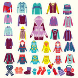Collection of woman and man winter clothes Royalty Free Stock Photos