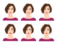 Collection of woman`s emotions. Stock Photos