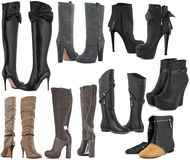 Collection of Woman shoes. Collection of Woman winter shoes on white Stock Image