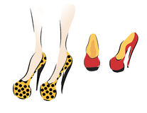 Collection of Woman Shoes stock illustration