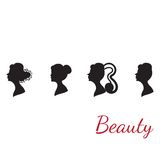 Collection of woman silhouettes from profile with Stock Photography
