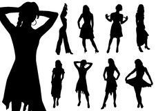Collection of women. Black contour. Vector royalty free illustration