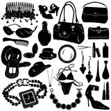 Collection of women accessories vector royalty free illustration