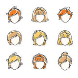 Collection of women faces, human heads. Diverse vector character. S like red-haired and blonde females, beautiful ladies visage clipart and user profile Stock Image