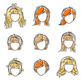 Collection of women faces, human heads. Diverse vector character. S like red-haired and blonde females, beautiful ladies visage clipart and user profile Royalty Free Stock Photo