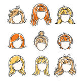 Collection of women faces, human heads. Diverse vector character. S like red-haired and blonde females, beautiful ladies visage clipart and user profile Stock Photos