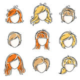 Collection of women faces, human heads. Diverse vector character. S like red-haired and blonde females, beautiful ladies visage clipart and user profile Stock Images