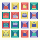 Collection of Women handbags in Flat design Royalty Free Stock Image