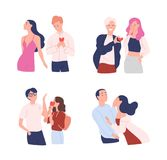Collection of women and men trying to present their hearts to beloved one. Unrequited, one-sided or rejected love. Male. And female cartoon characters isolated Royalty Free Stock Photos