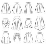 Collection of women romantic skirts Stock Images
