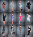 Collection of women's business suits Stock Photos