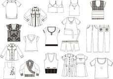 Collection of women's clothing. Royalty Free Stock Photo