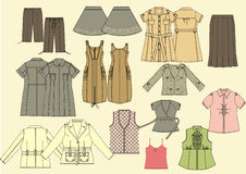 Collection of women's clothing. Fashionable women's clothing collection Stock Image