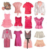 Collection of women's clothing Stock Images