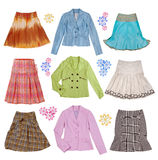 Collection of women's clothing Stock Photos