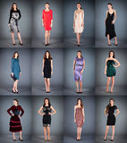 Collection of women's dresses Stock Photos