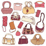Womens handbags. Hand drawn Vector Set Royalty Free Stock Image
