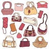 Womens handbags. Hand drawn Vector Set Royalty Free Stock Image