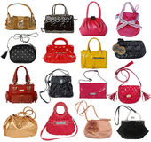 Collection of women's handbags Stock Photo