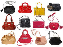 Collection of women's handbags Royalty Free Stock Images