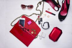Collection of women`s set of fashion accessories and cosmetics royalty free stock image