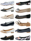 Collection of women's shoes. On white Royalty Free Stock Images