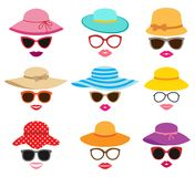 Collection of women`s summer hats Stock Image