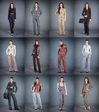 Collection of women's trouser suits. On a dark background Royalty Free Stock Images
