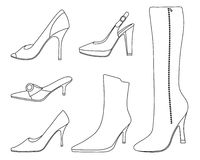 Collection of women shoes Royalty Free Stock Photos