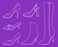 Collection of women shoes stock illustration