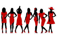 Collection of women silhouettes in red dress. Posing in fashion style Royalty Free Illustration
