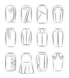 Collection of women skirts Stock Photography