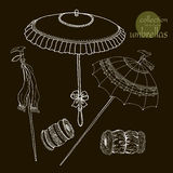 Collection womens old umbrellas. Vector Royalty Free Stock Image