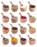Collection of wooden bowls full of spices Stock Photo