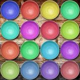 Collection of wooden bowls in wood background. Collection of wooden bowls on wood background Royalty Free Stock Image